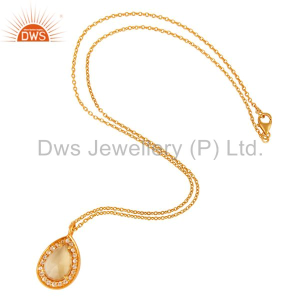 925 Sterling Silver Citrine And White Topaz Pendant With Chain - 18K Gold Plated