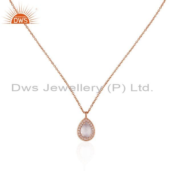Crystal quartz gemstone pendant rose gold plated 925 silver chain necklace