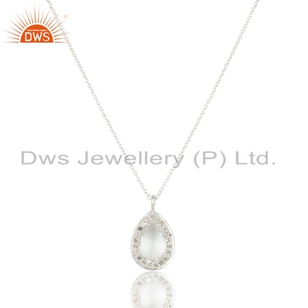 Solid 925 sterling silver crystal quartz and white topaz pendant with chain