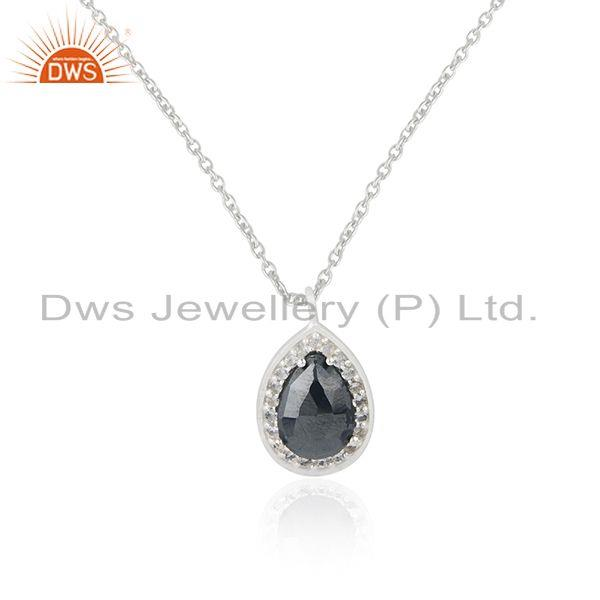Hematite Gemstone Fine Sterling Silver Chain Pendant Indian Jewelry Manufacturer