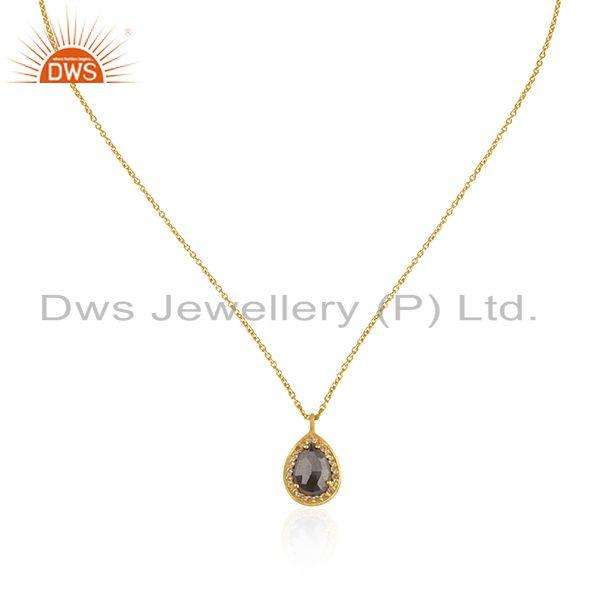 White Topaz Gemstone Gold Plated 925 Silver Handmade Chain Pendant Manufacturer