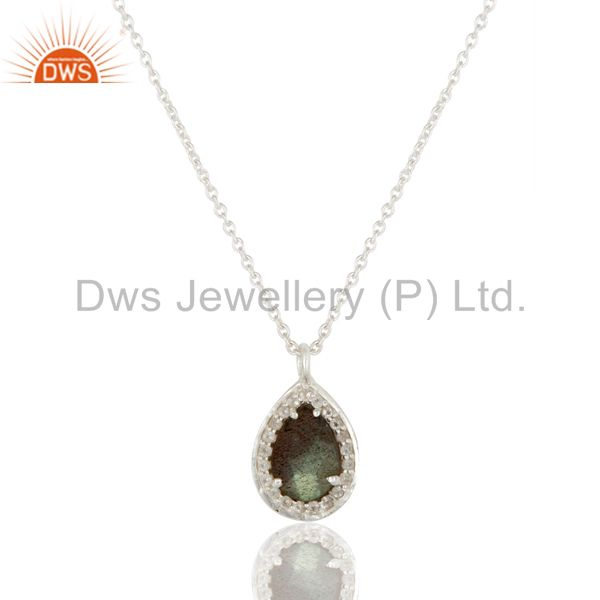 925 Sterling Silver With Labradorite And White Topaz Pendant With Chain