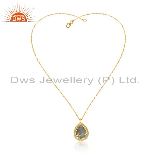 White Topaz Labradorite Pear Shape Gold Plated Silver Pendant Necklace