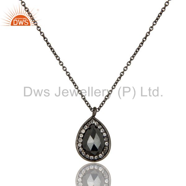 925 Sterling Silver With Oxidized Hematite And White Topaz Pendant With Chain