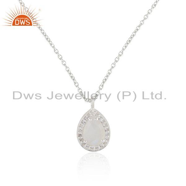 White topaz and rainbow moonstone fine silver chain pendant manufacturer