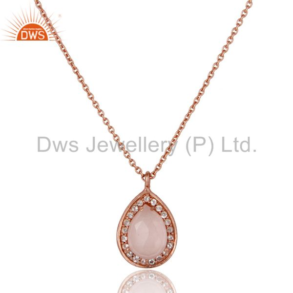 18K Rose Gold Plated Sterling Silver Rose Quartz White Topaz Pendant With Chain