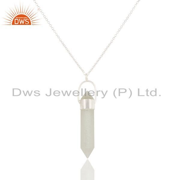 Solid Silver Plated Brass White Moonstone Double Sided Point Pendant Necklace