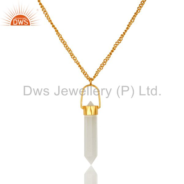 14K Yellow Gold Plated Brass White Moonstone Double Sided Point Pendant Necklace