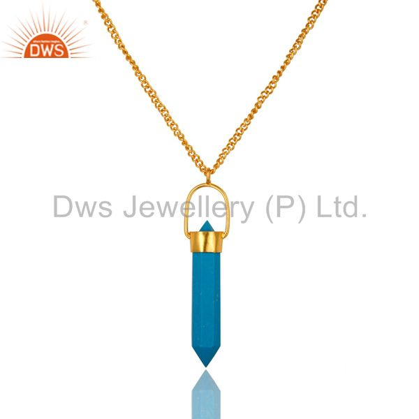 14K Yellow Gold Plated Brass Turquoise Double Sided Point Pendant Necklace