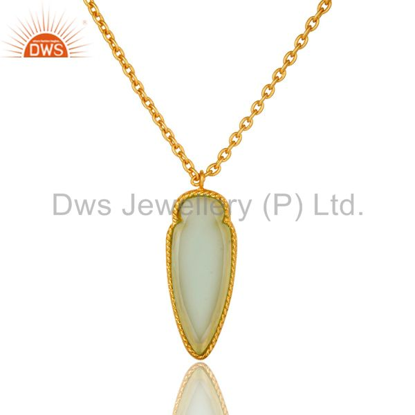 14K Yellow Gold Plated Brass Aqua Chalcedony Designer Pendant With Chain