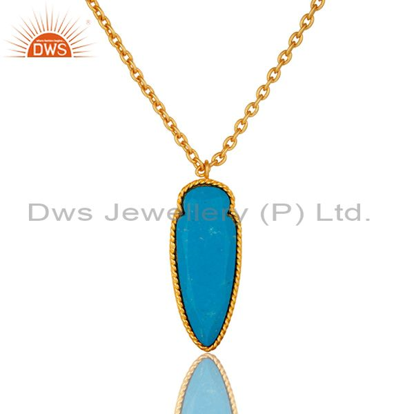 14K Yellow Gold Plated Brass Turquoise Gemstone Fashion Pendant With Chain