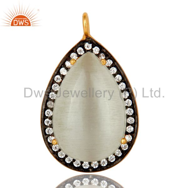 18K Gold Plated Sterling Silver White Moonstone Prong Set Pendant With CZ