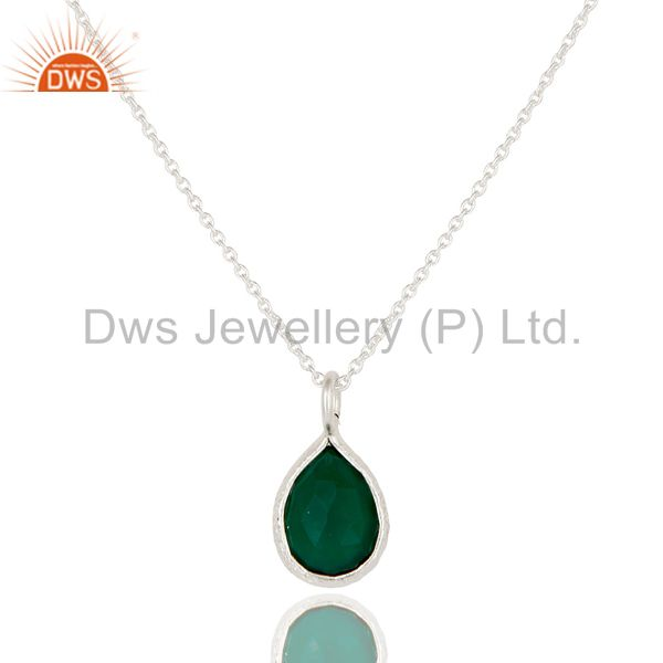 Handmade Sterling Silver Green Onyx Gemstone Bezel Set Pendant With Chain