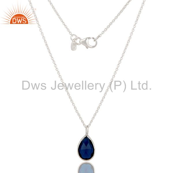 Solid Sterling Silver Blue Corundum Sapphire Gemstone Drop Pendant With Chain