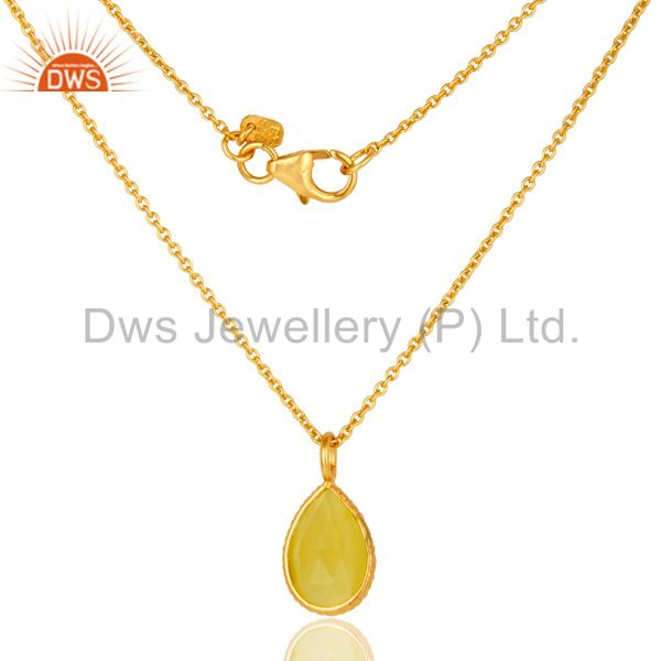 18K Gold Plated Sterling Silver Lemon Topaz Gemstone Drop Pendant With Chain