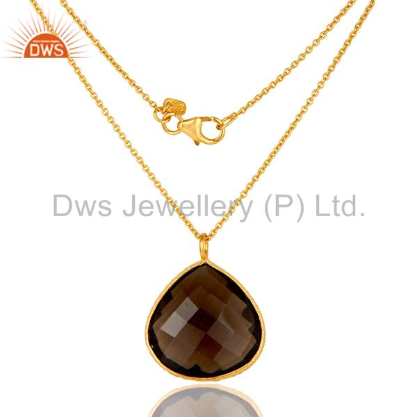18K Gold Plated Sterling Silver Smokey Quartz Bezel Drop Pendant With Chain