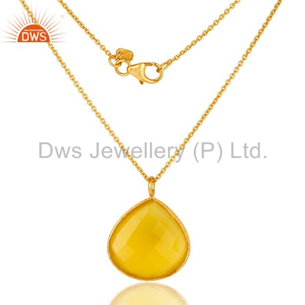 18K Gold Plated Sterling Silver Yellow Moonstone Bezel Drop Pendant With Chain