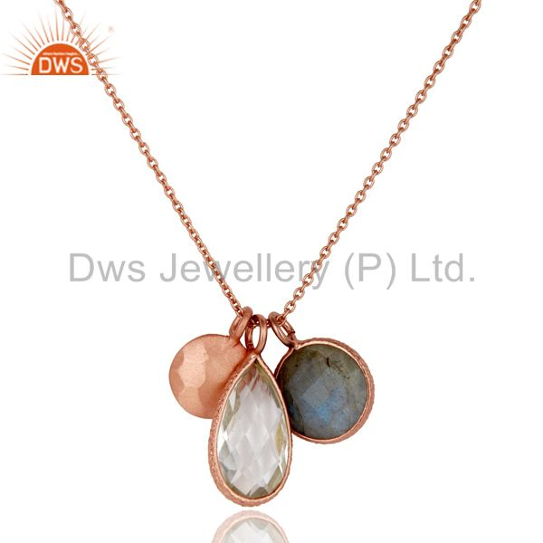 18K Rose Gold Plated Silver Labradorite And Crystal Quartz Pendant With Chain
