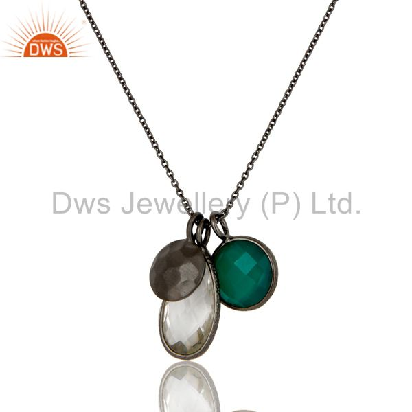 Oxidized Sterling Silver Green Onyx And Crystal Quartz Charms Chain Necklace