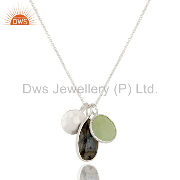 925 Sterling Silver Green Chalcedony & Labradorite Bezel Set Pendant With Chain