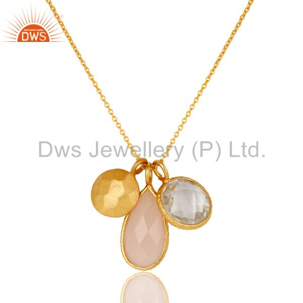 22K Gold Plated Sterling Silver Rose Quartz And Crystal Quartz Chain Necklace