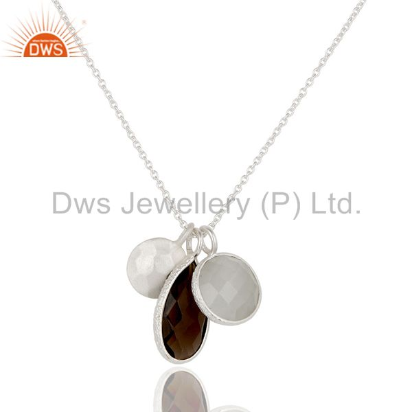 925 Sterling Silver White Moonstone And Smoky Quartz Pendant With Chain