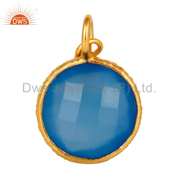 18K Gold Plated Sterling Silver Faceted Blue Chalcedony Bezel Charm Pendant