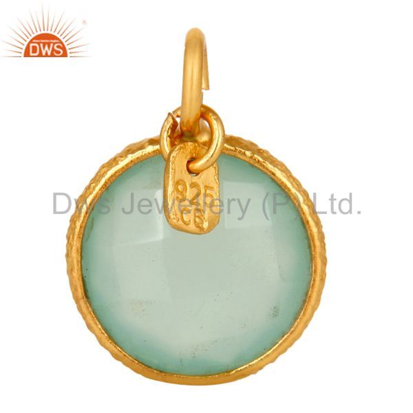 18K Yellow Gold Plated Sterling Silver Aqua Chalcedony Bezel Set Charms Pendant