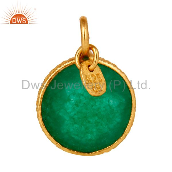 18K Yellow Gold Plated Sterling Silver Green Aventurine Bezel Set Charms Pendant