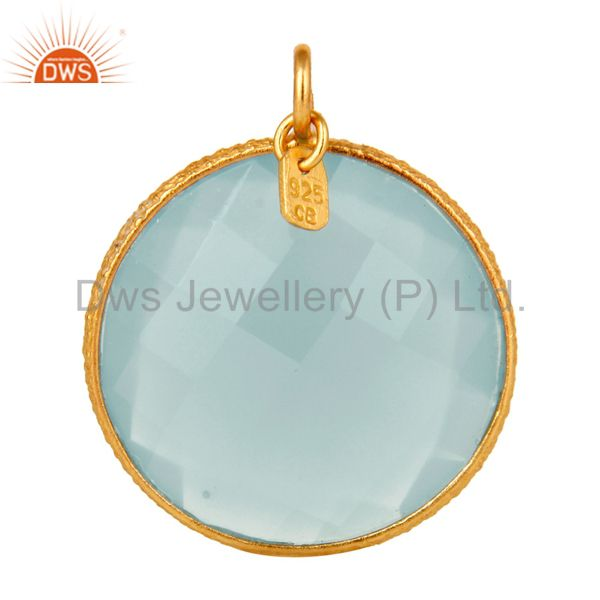 18K Yellow Gold Plated Sterling Silver Aqua Chalcedony Bezel Set Charm Pendant