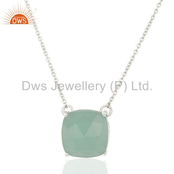 White Rhodium Plated 925 Silver Chain Gemstone Pendant Manufacturers