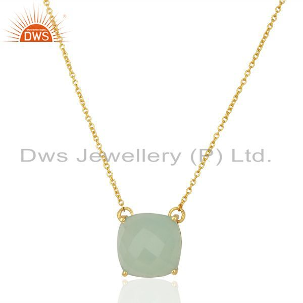 Aqua Chalcedony Gemstone Gold Plated Silver Pendant Manufacturer