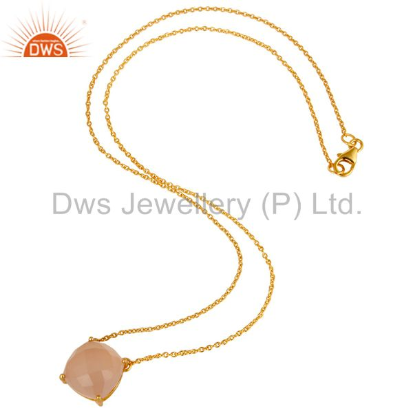 18k Gold Plated Sterling Silver Chalcedony Gemstone Prong Set Chain Pendant