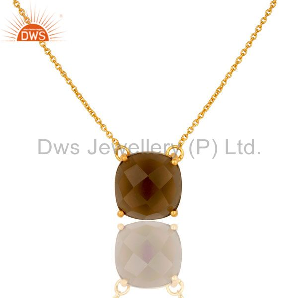 18K Yellow Gold Plated Sterling Silver Smoky Quartz Prong Set Chain Necklace