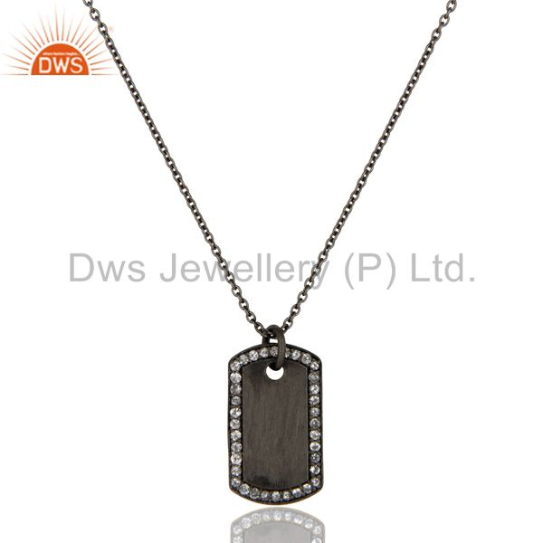 Black oxidized 925 sterling silver white topaz simple set chain necklace
