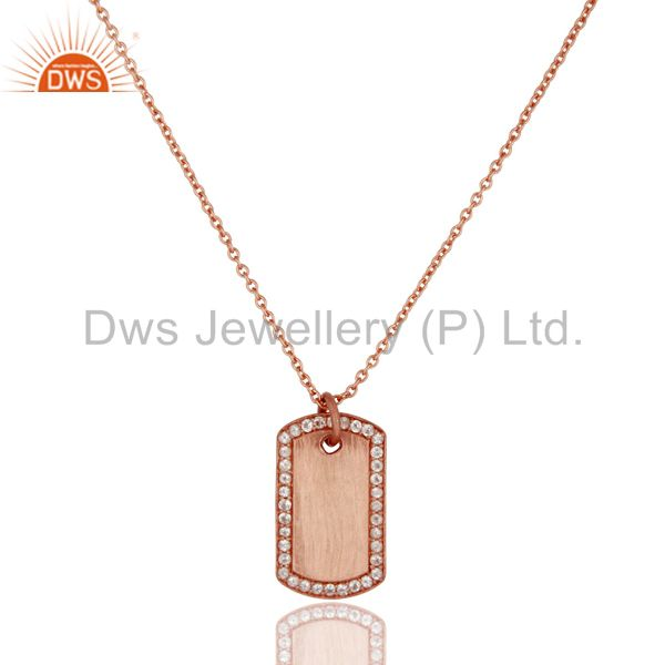18k rose gold 925 sterling silver white topaz simple set chain necklace