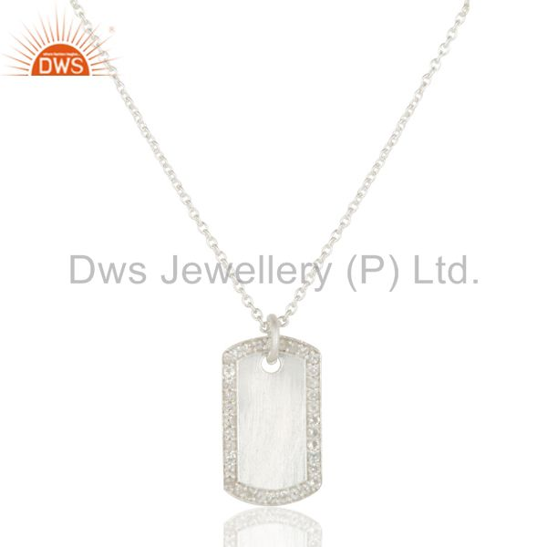 White silver plated 925 sterling white topaz simple set chain necklace