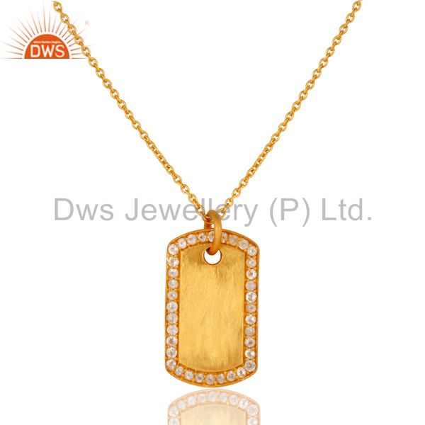 18k yellow gold plated sterling silver white topaz simple set chain necklace