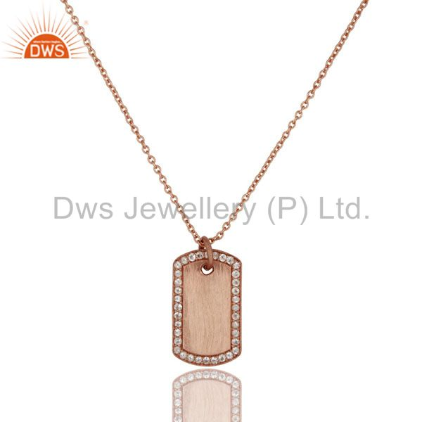 18K Rose Gold Plated Sterling Silver White Topaz Strip Pendant With Chain