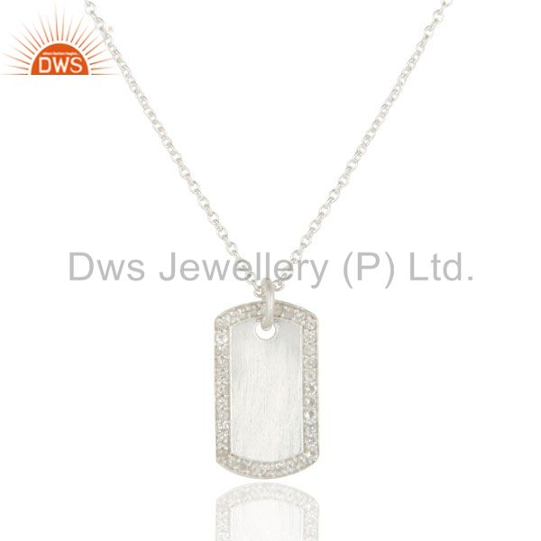 925 Sterling Silver White Topaz Designer Pendant With Chain Necklace