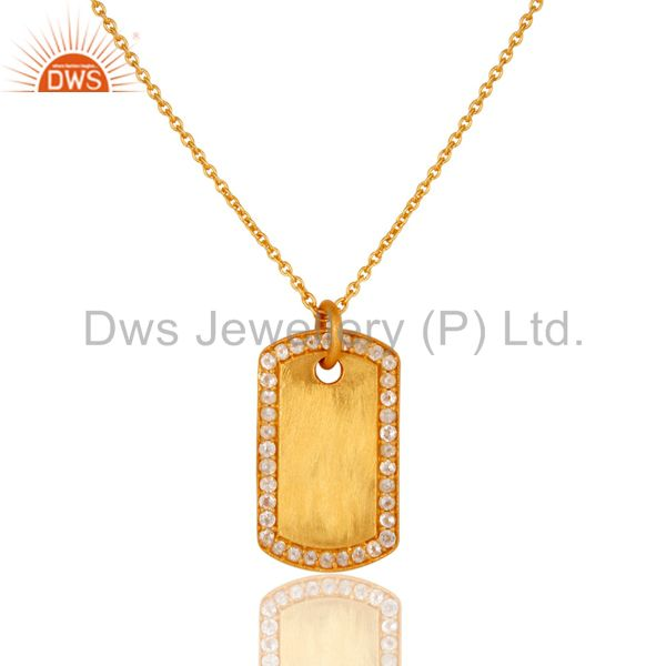 18K Yellow Gold Plated Sterling Silver White Topaz Pendant Chain Necklace