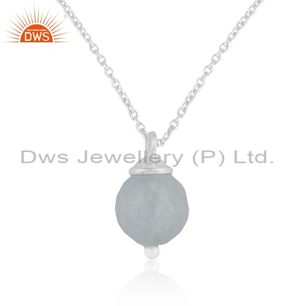 Aqua Chalcedony Gemstone Sterling Fine 925 Silver Chain Pendant Manufacturer