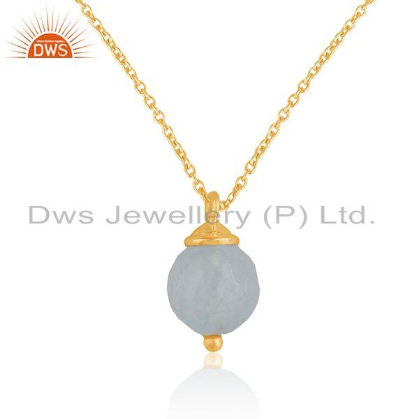 92.5 Sterling Silver Aqua Chalcedony Gemstone Gold Plated Chain Pendant Supplier