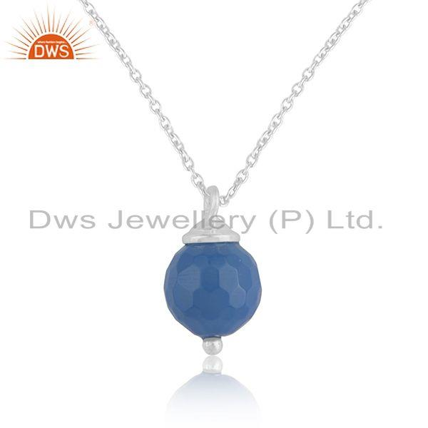 Bluc chalcedony gemstone 925 sterling silver chain pendant manufacturer india