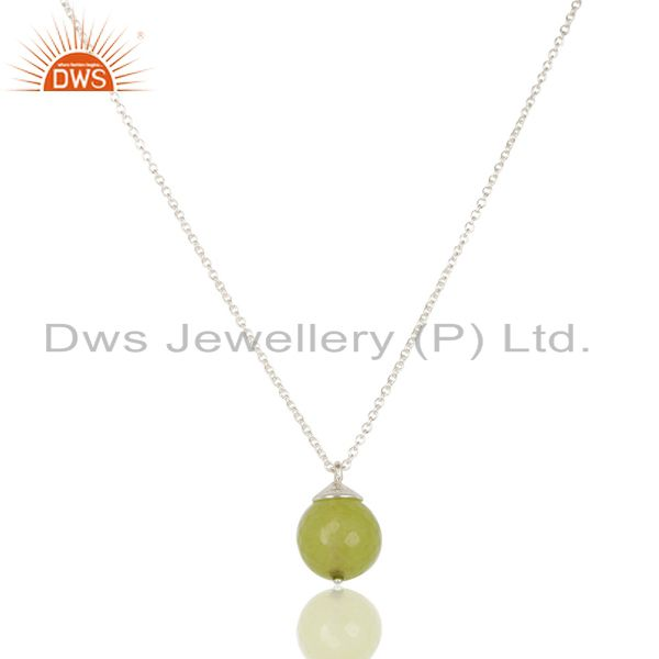 Handmade solid 925 sterling silver dyed chalcedony designer chain pendant