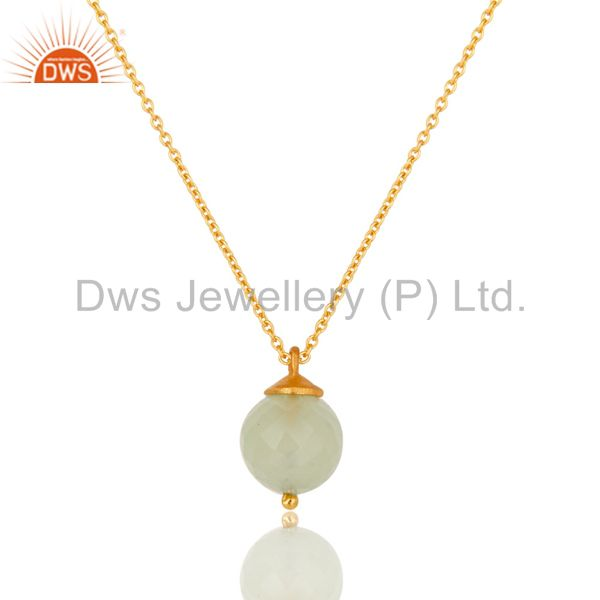 18K Gold Plated Sterling Silver Prehnite Chalcedony Designer Pendant With Chain