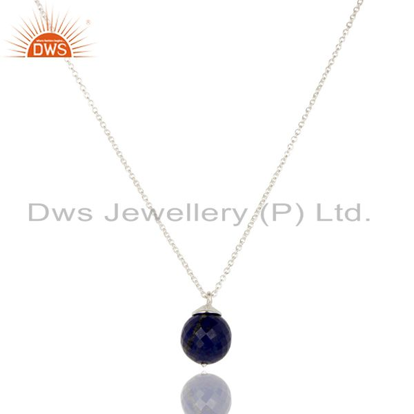 Handmade solid 925 sterling silver lapis faceted designer chain pendant jewelry