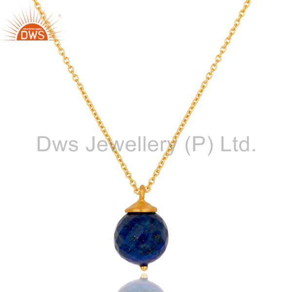 18K Gold Plated Sterling Silver Lapis Faceted Designer Pendant With Chain