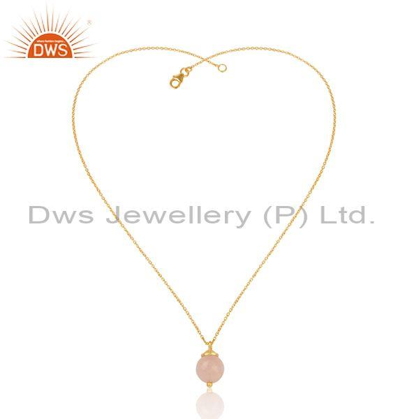 Rose Chalcedony Set Pendant And Gold On 925 Silver Necklace