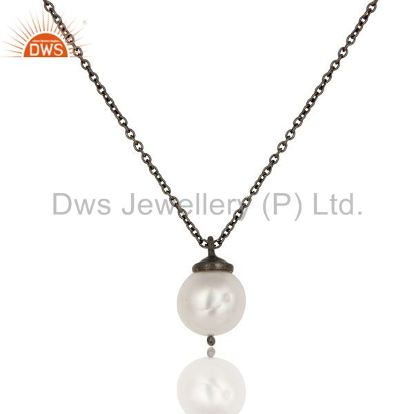 925 Sterling Silver With Oxidized White Pearl Designer Pendant With Chain